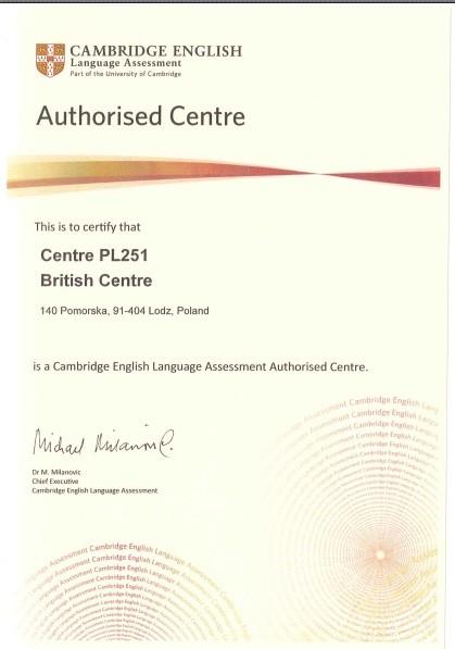Autoryzowane centrum egzaminacyjne Cambridge