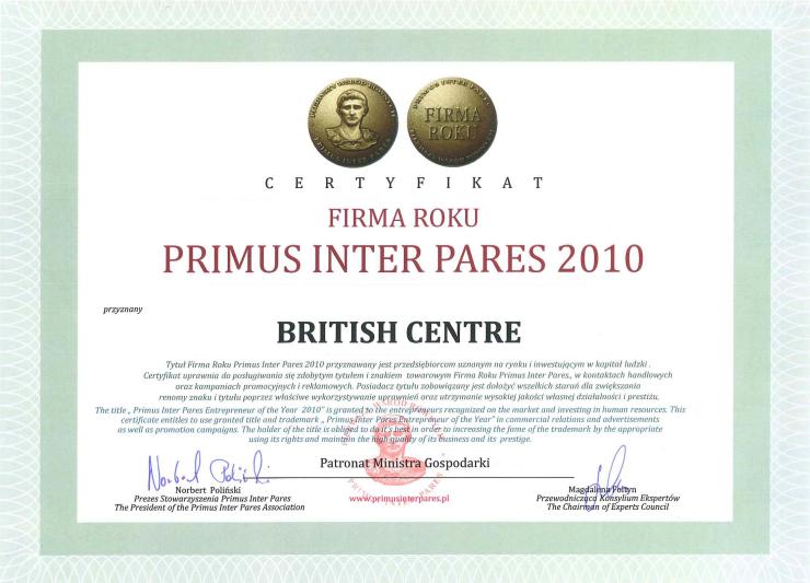Firma roku PRIMUS INTER PARES