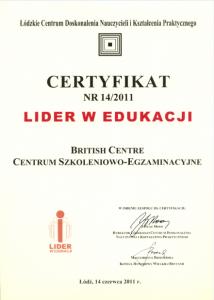Certyfikat lider w edukacji