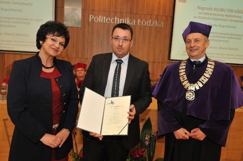 Maj 2013: nagroda Klubu 500-Łódź dla absolwenta Politechniki Łódzkiej